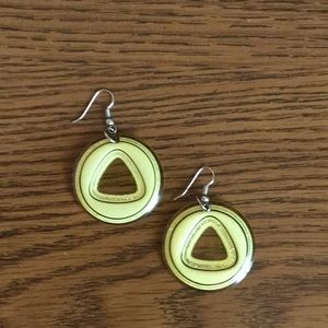 Jewelry - Yellow circle and triangle shaped earrings